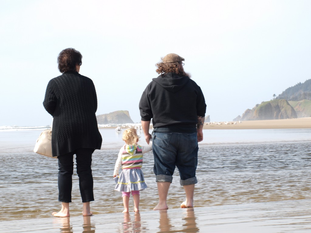 family, beach, ocean, three generations, sun and sand